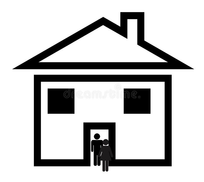 Pares na HOME suburbana ilustração royalty free
