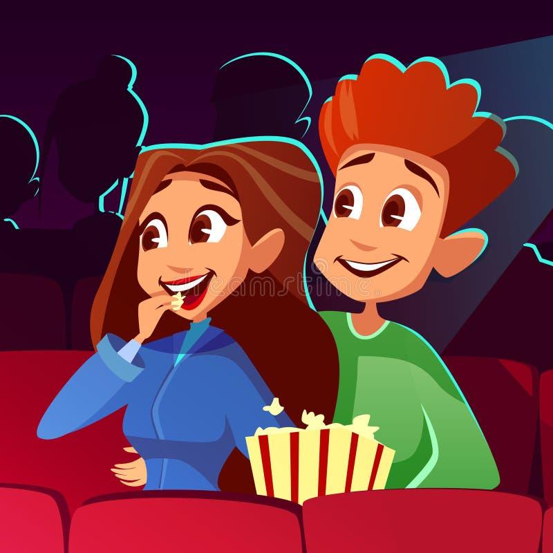 Pares na ilustração do vetor do cinema do filme ilustração do vetor