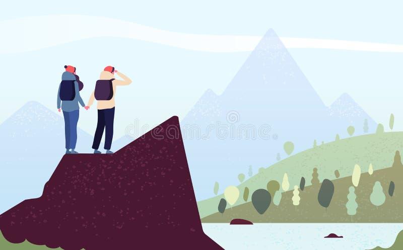 Pares na montanha Mulher feliz, montanhistas do homem Caminhantes fêmeas que estão na paisagem da montanha do olhar da rocha Trek ilustração do vetor