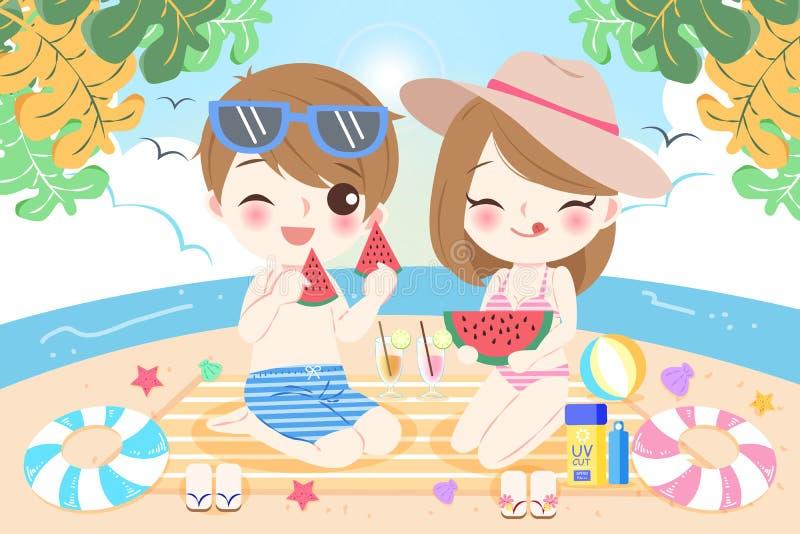 Pares na praia ilustração do vetor