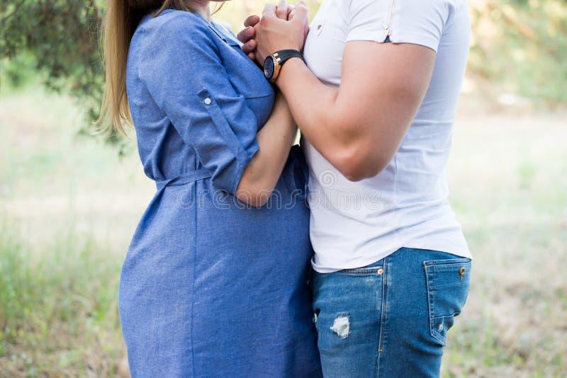 Pares no afago grávido do amor, bebê de espera que anda no parque no dia ensolarado morno Gravidez Menina no vestido azul imagem de stock royalty free