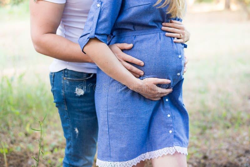 Pares no afago grávido do amor, bebê de espera que anda no parque no dia ensolarado morno Gravidez Menina no vestido azul imagens de stock