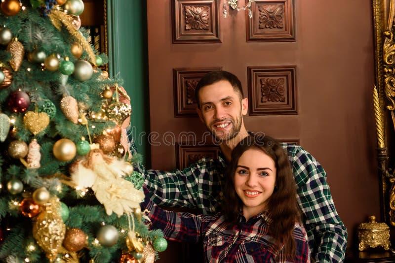 Pares no amor ao lado de uma árvore de Natal, abraçando e olhando à câmera fotografia de stock