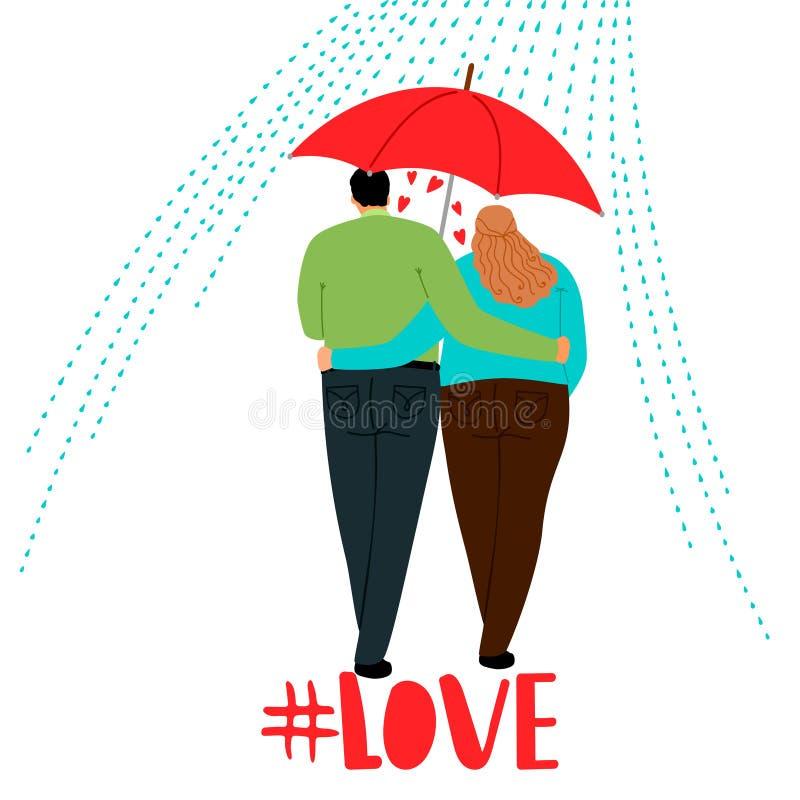 Pares no amor com guarda-chuva ilustração royalty free