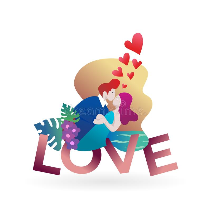 Pares no amor com texto Personagem de banda desenhada moderno romântico do projeto do elemento do cartaz da bandeira da ilustraçã ilustração stock