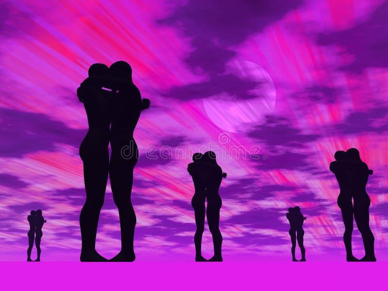 Pares no amor - 3D rendem ilustração stock