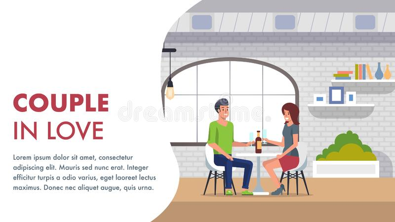 Pares no amor Datar romântico no restaurante ilustração do vetor