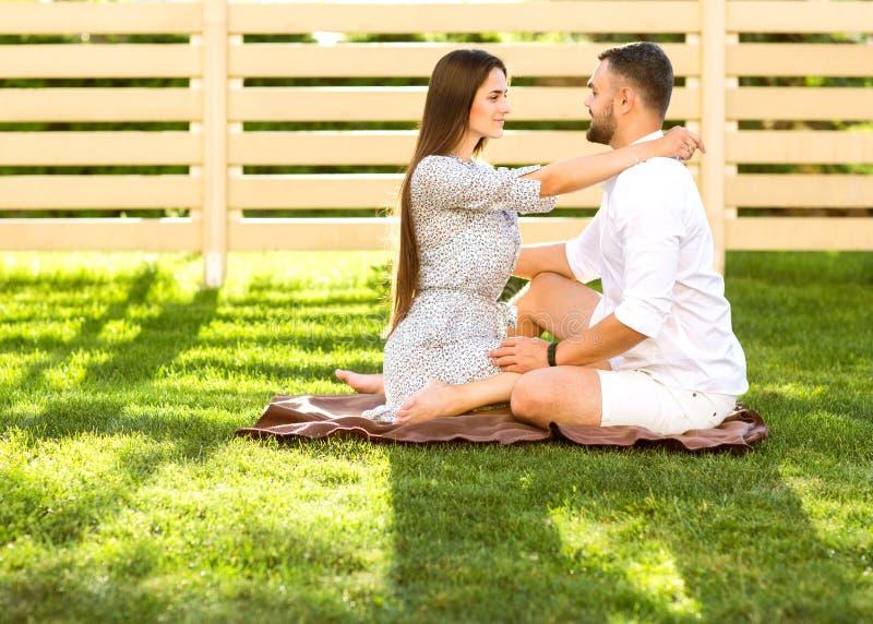 Pares no amor em um piquenique perto de sua casa, estilo americano imagens de stock