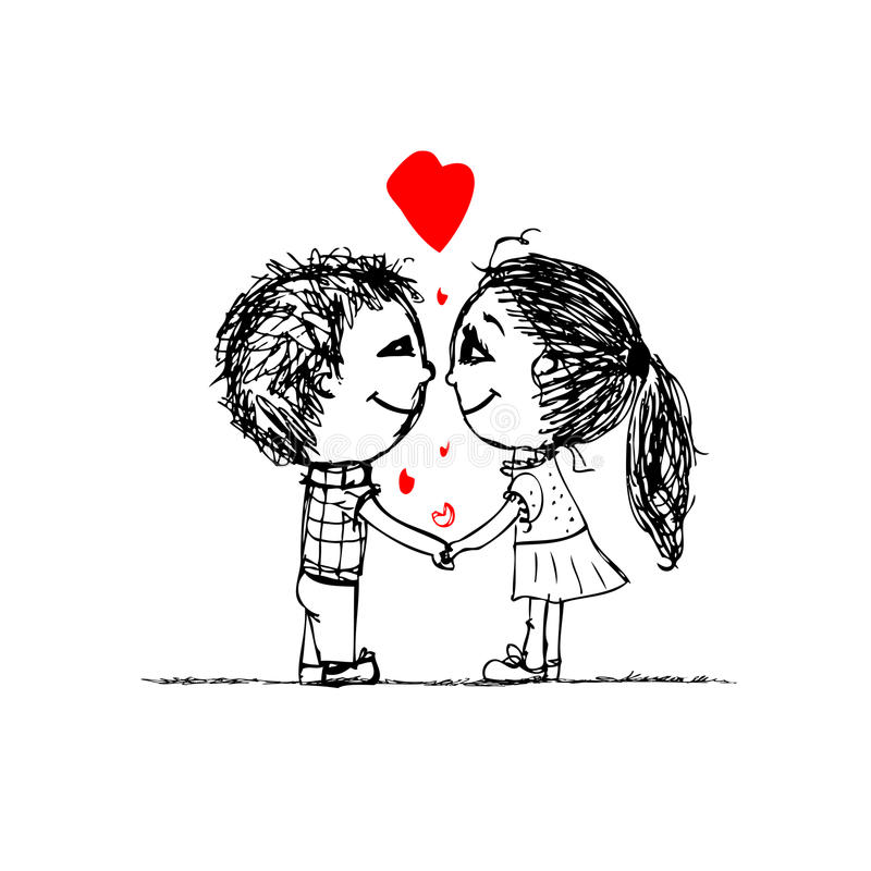 Pares no amor junto, esboço do Valentim para o seu ilustração royalty free