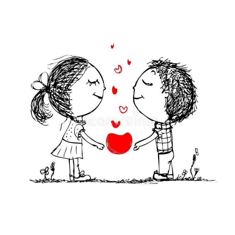 Pares no amor junto, esboço do Valentim para o seu ilustração stock