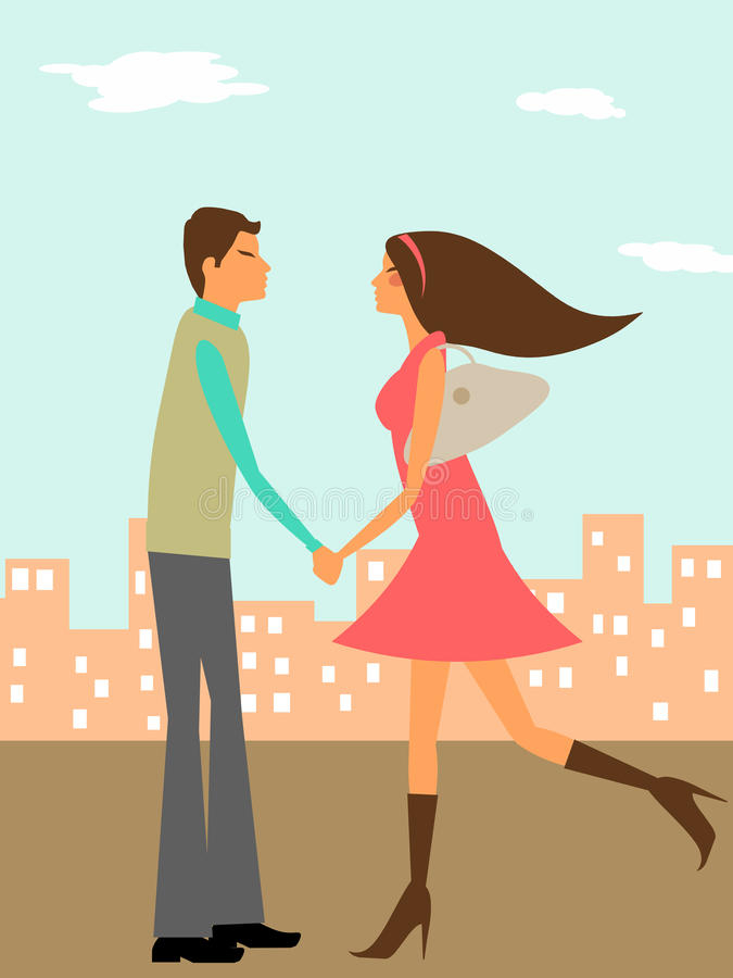 Pares no amor na cidade ilustração royalty free