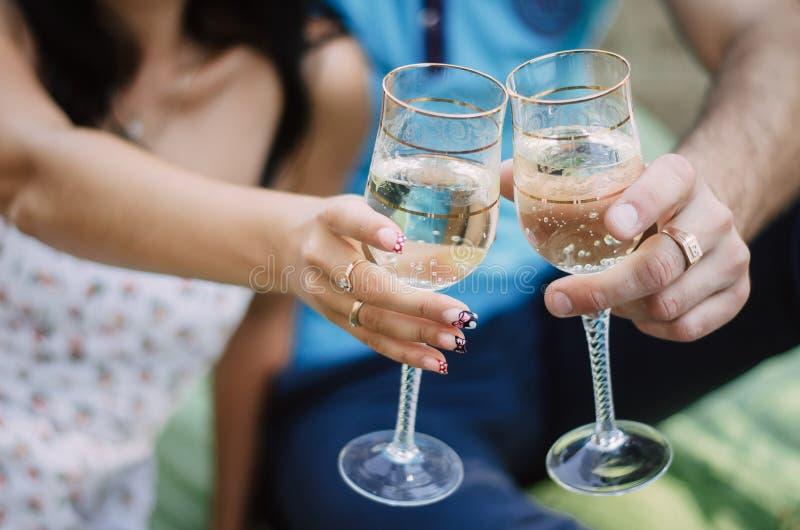 Pares no amor na floresta que guarda vidros do vinho fotografia de stock royalty free