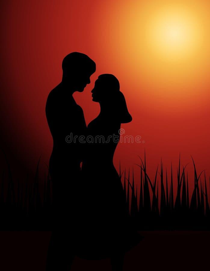 Pares no amor no por do sol ilustração stock