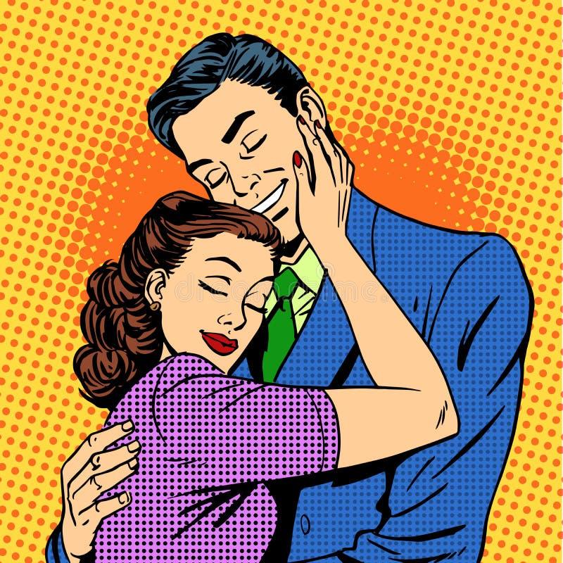 Pares no amor que abraça a esposa do marido retro ilustração royalty free