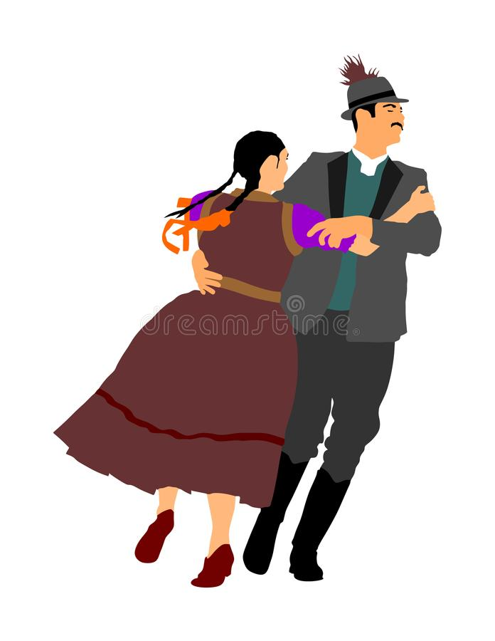 Pares no amor que dança povos de Balcãs Evento do folclore na cerimônia de casamento ilustração stock