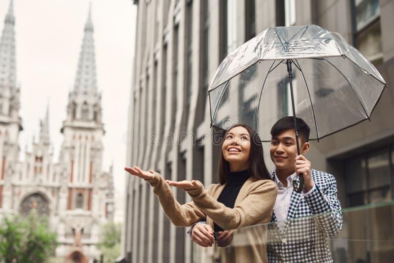 Pares no amor sob o guarda-chuva no fundo da alameda fotografia de stock