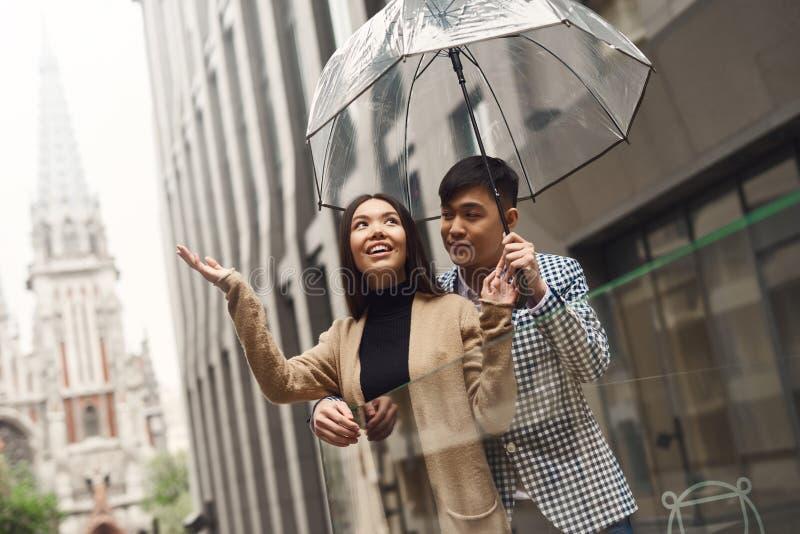 Pares no amor sob o guarda-chuva no fundo da alameda fotos de stock