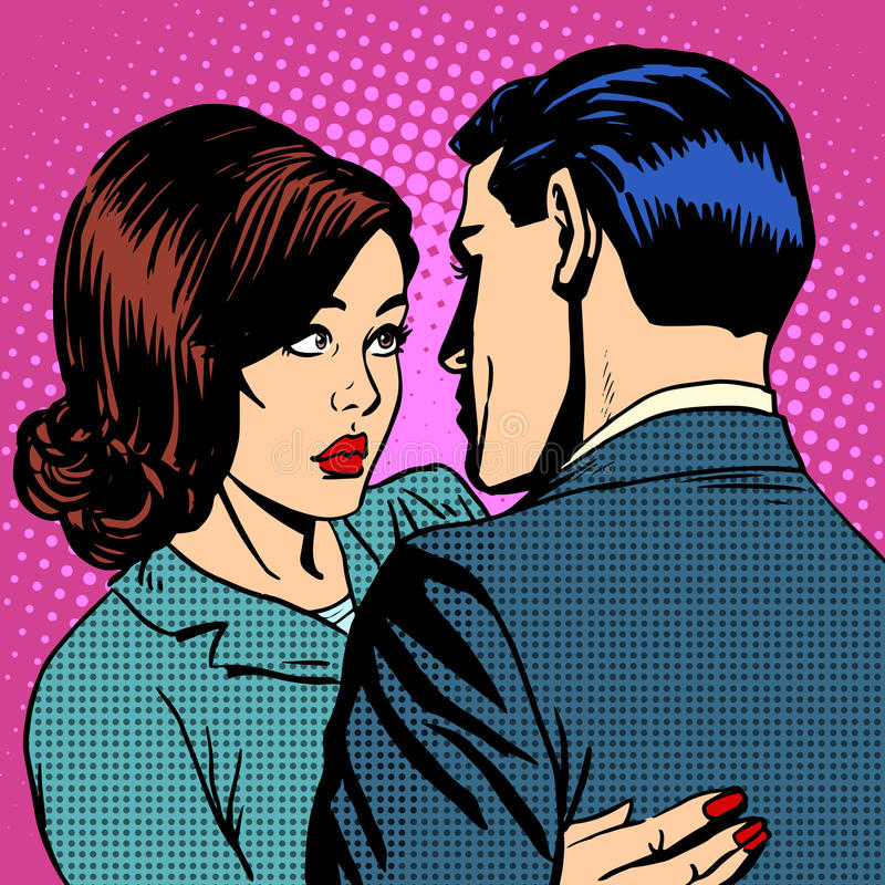 Pares no aperto do amor ilustração royalty free