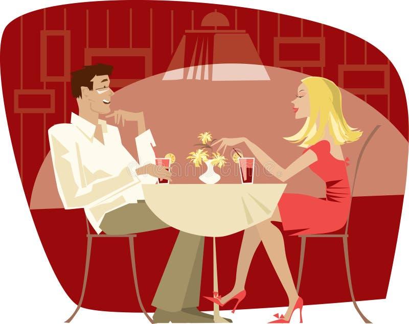 Pares no café ilustração royalty free