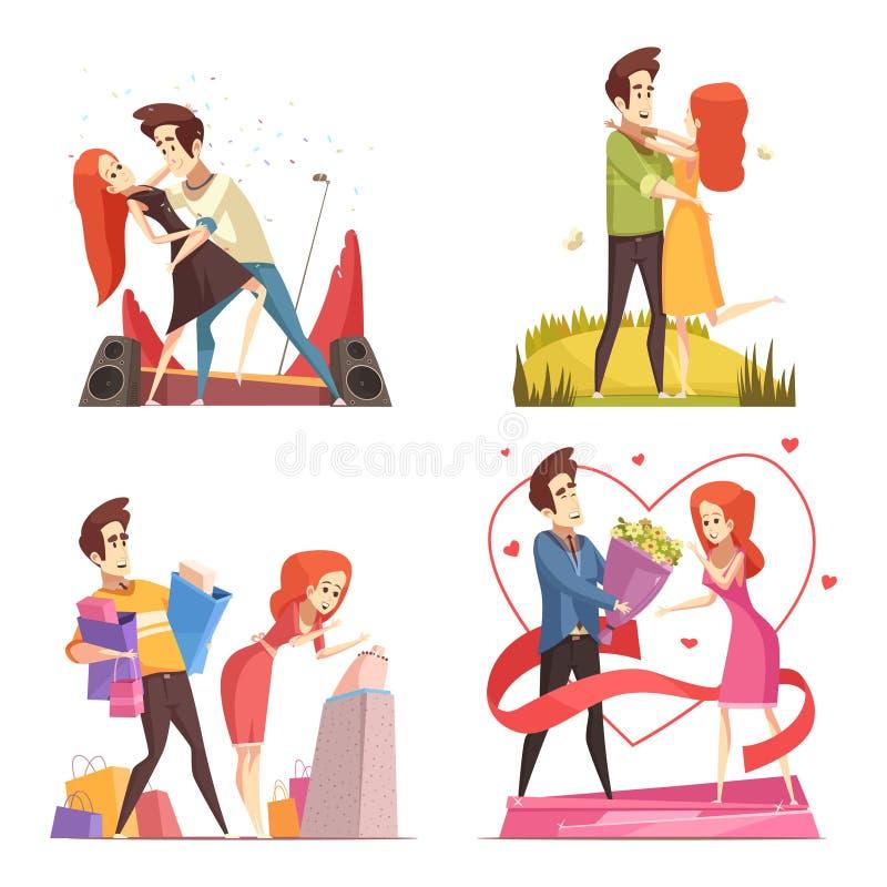 Pares no conceito de projeto do amor 2x2 ilustração stock