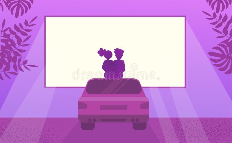 Pares no filme de observação do amor que senta-se no carro Noite exterior do cinema ilustração royalty free