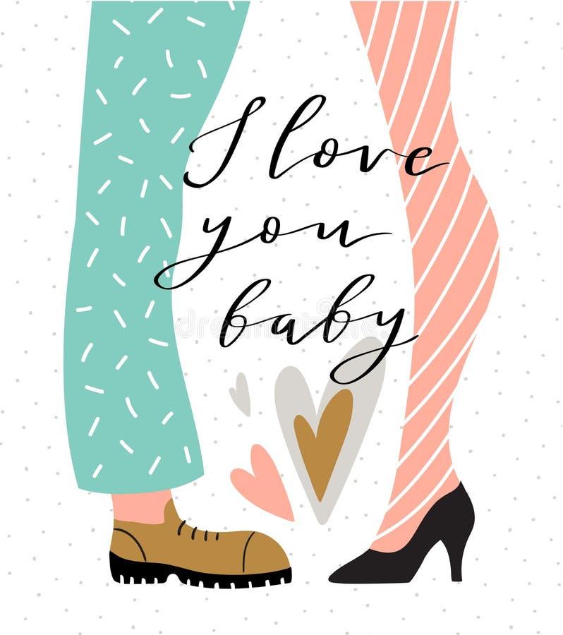Pares no fundo do às bolinhas com rotulação - ` do bebê do ` eu te amo Coração verde estilizado da ilustração do vetor Ilustração ilustração do vetor