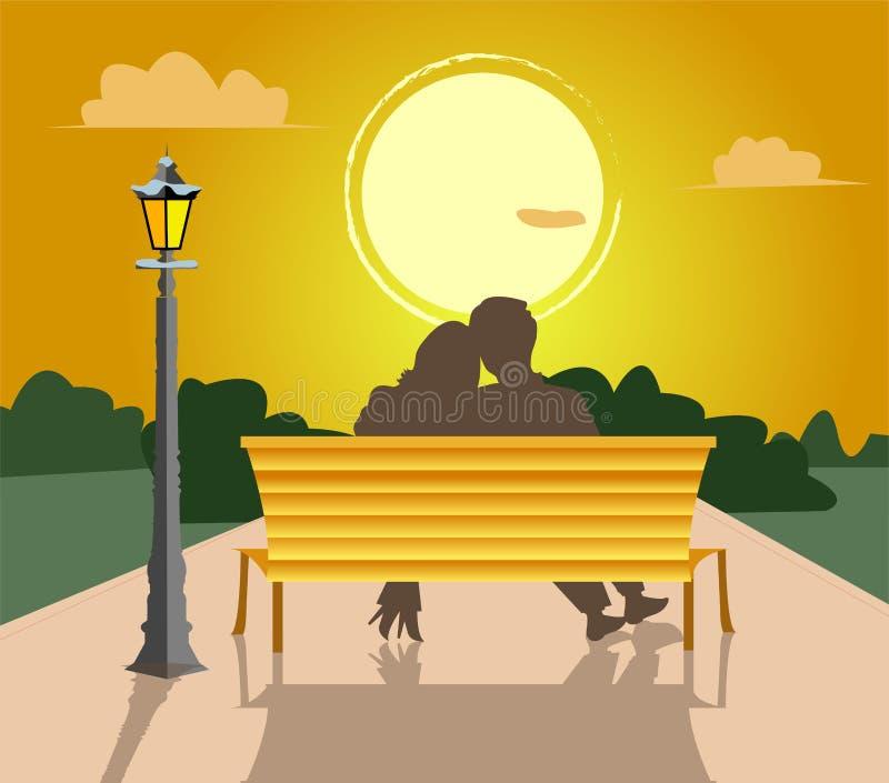 Pares no fundo do por do sol ilustração stock
