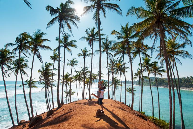 Pares no monte da árvore de coco em Mirissa, Sri Lanka imagem de stock royalty free