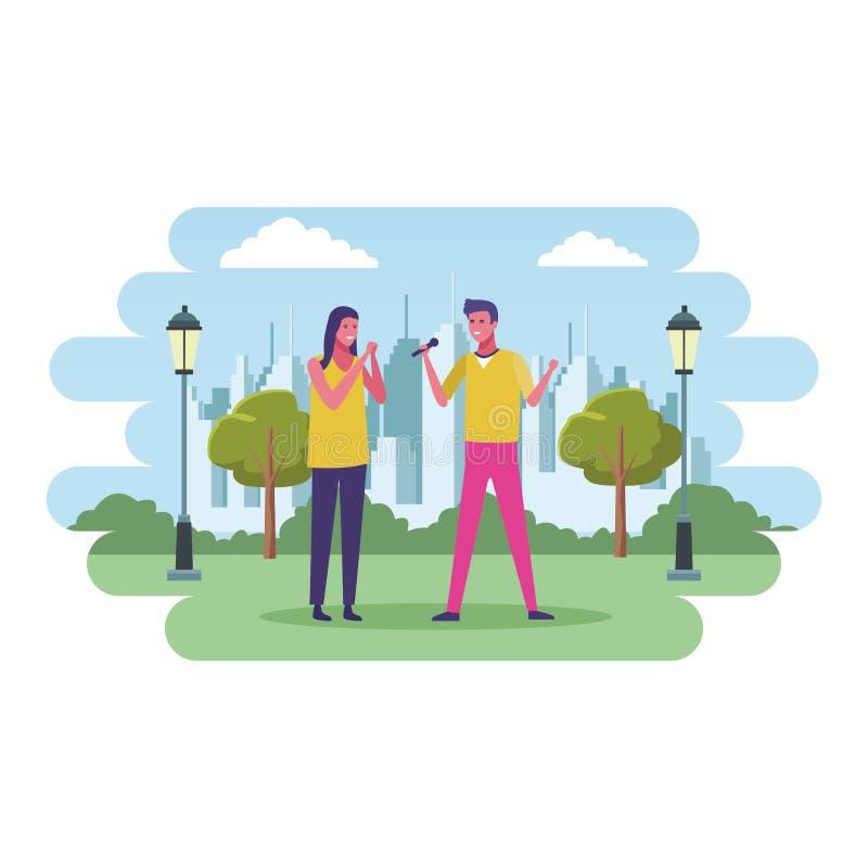 Pares no parque ilustração do vetor