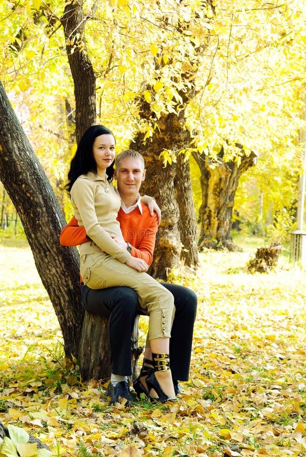 Pares no parque do outono imagem de stock royalty free