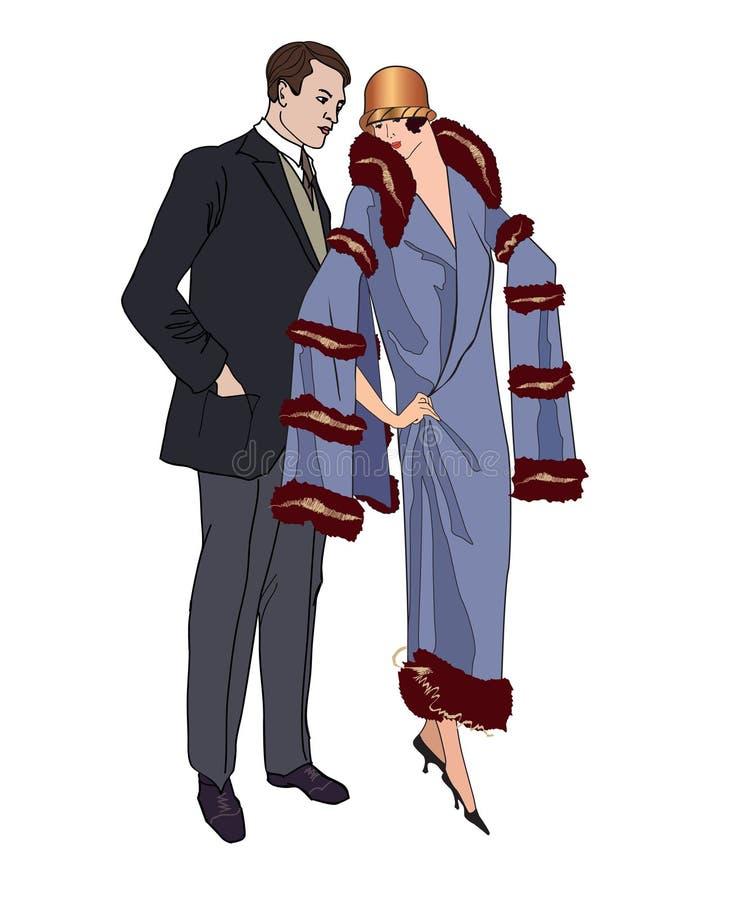 Pares no partido Homem e mulher nos anos 20 do estilo do vintage Retrato ilustração do vetor