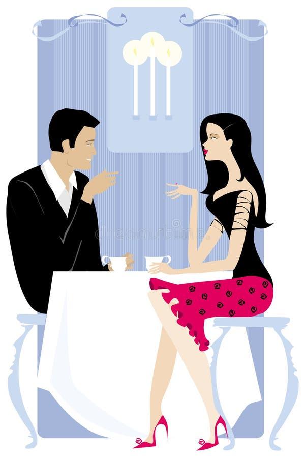 Pares no restaurante ilustração royalty free