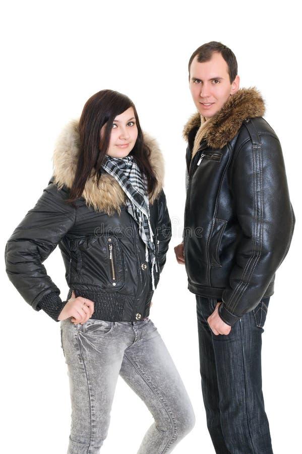Pares no vestido para o inverno fotografia de stock