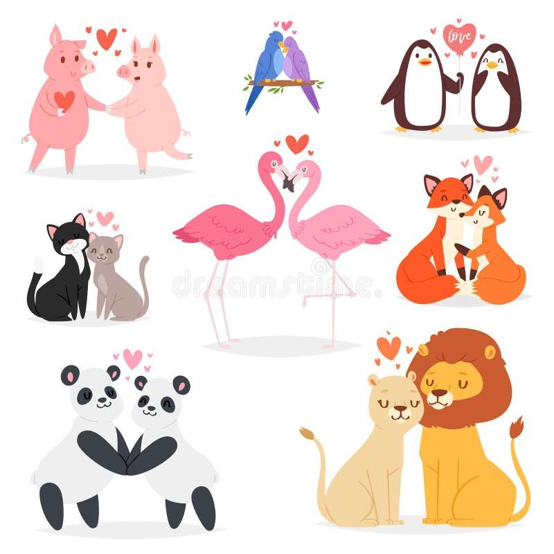 Pares nos caráteres animais panda ou gato dos amantes do vetor do amor em data loving no dia de Valentim e no beijo do flamingo a ilustração stock