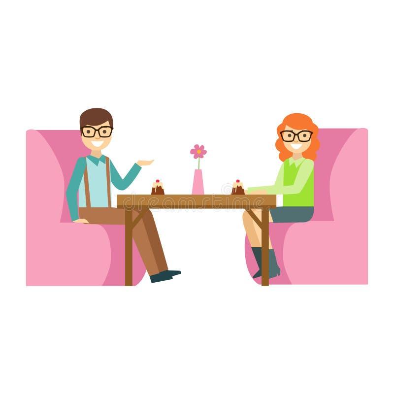 Pares nos vidros em uma data que come um bolo, Person Having de sorriso uma sobremesa na ilustração doce do vetor do café da past ilustração stock