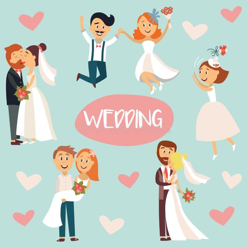 Pares, novia y novio divertidos de la boda de la historieta stock de ilustración