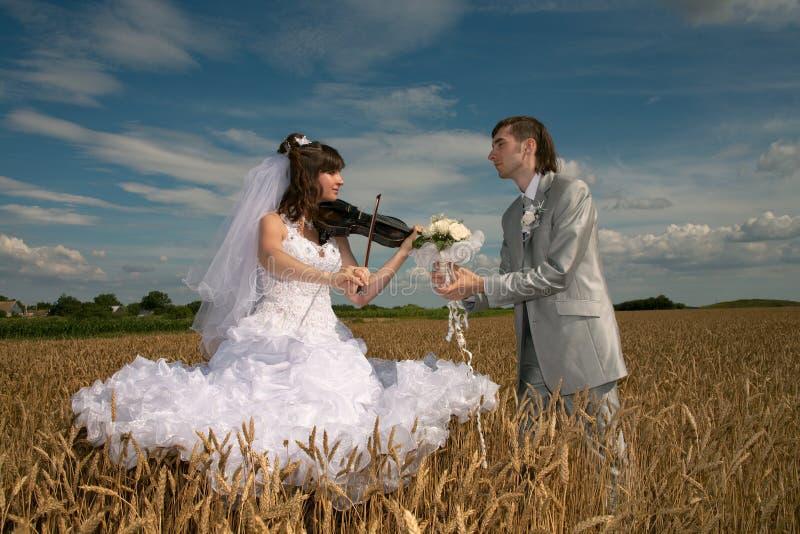 Pares novo-casados felizes imagem de stock royalty free