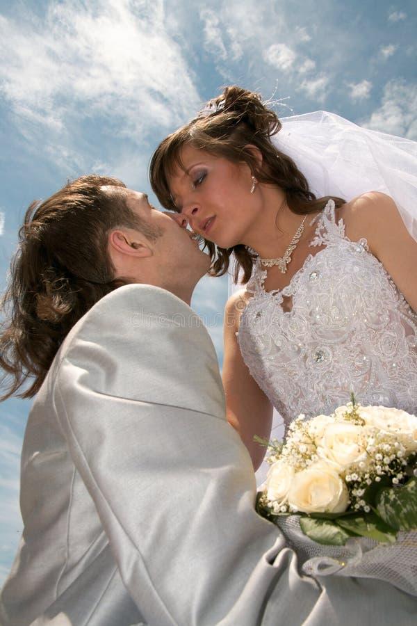 Pares novo-casados felizes fotografia de stock royalty free