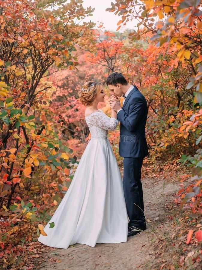 Pares novos atrativos de surpresa no dia do casamento noiva no vestido longo branco elegante e no ramalhete azul à disposição, o  fotografia de stock