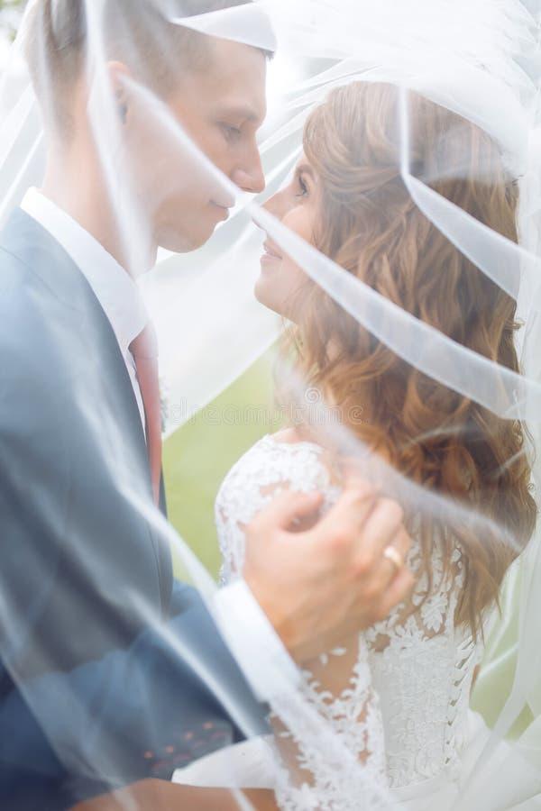 Pares novos bonitos na natureza, pares do casamento no amor fotografia de stock