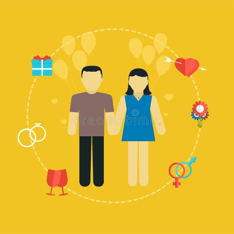 Pares novos, conceito com ícones, planeamento familiar do casamento ilustração royalty free