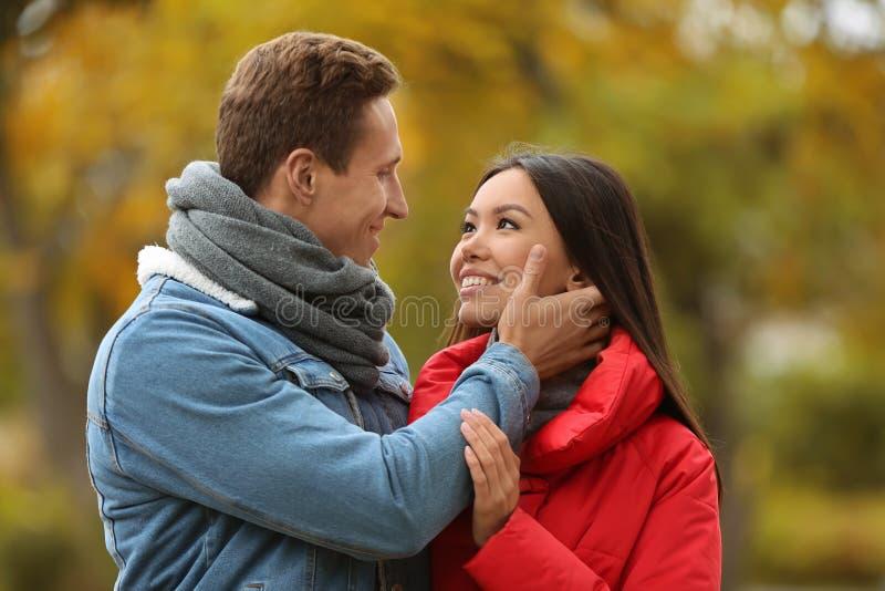 Pares novos de amor na data romântica no parque do outono foto de stock