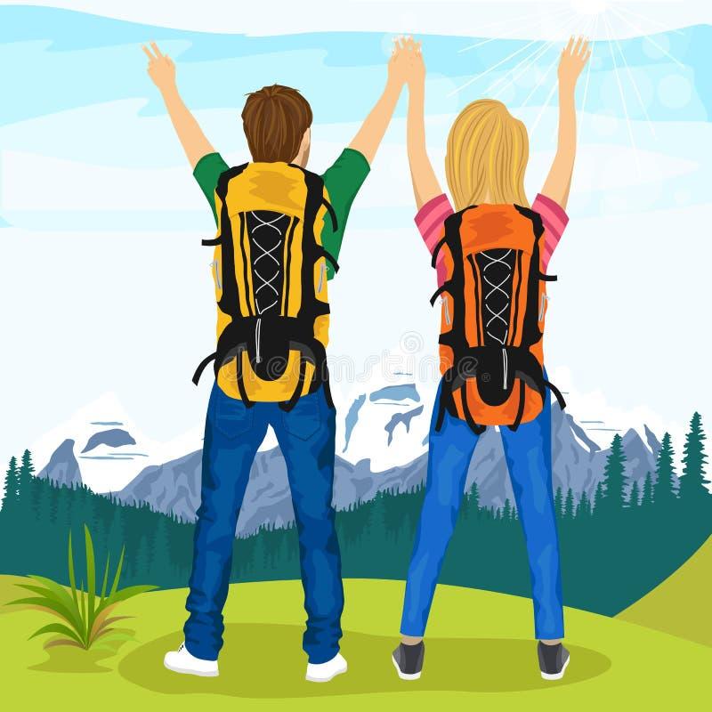 Pares novos de caminhantes que estão sobre a montanha e que apreciam o cenário da natureza ilustração do vetor