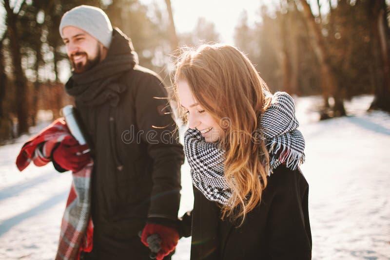 Pares novos do moderno que andam na floresta do inverno que guarda as mãos fotografia de stock