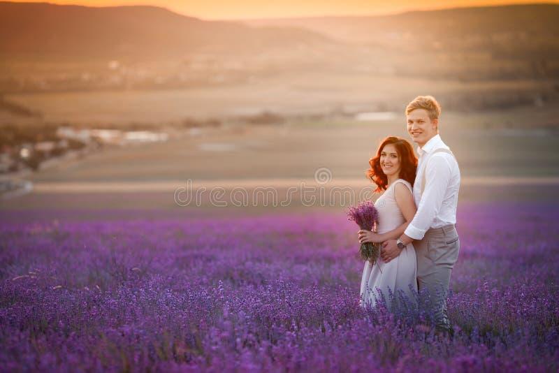 Pares novos em noivos do amor, dia do casamento no verão Aprecie um momento da felicidade e do amor em um campo da alfazema fotos de stock