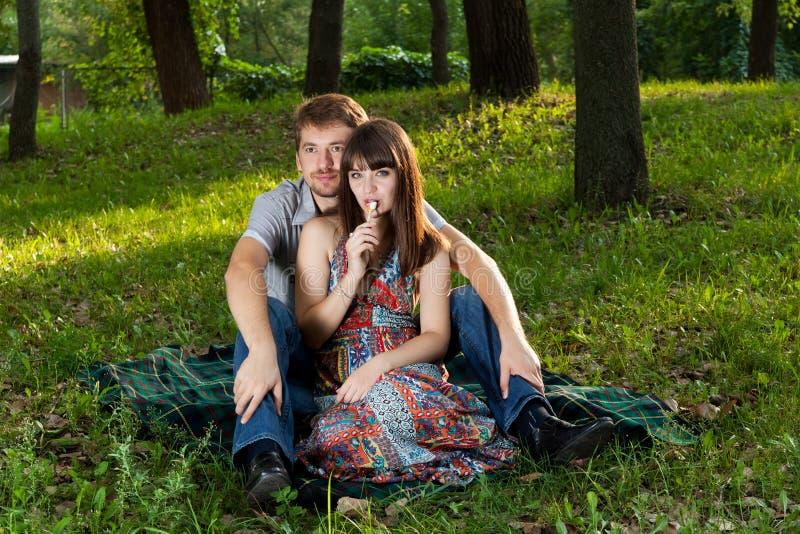 Pares novos em um piquenique romântico ao ar livre fotos de stock royalty free