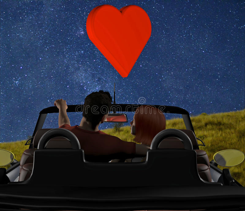 Pares novos estacionados no convertible foto de stock royalty free