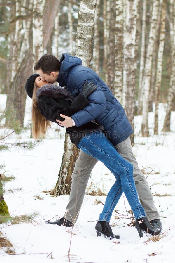 Pares novos felizes no inverno fotos de stock royalty free