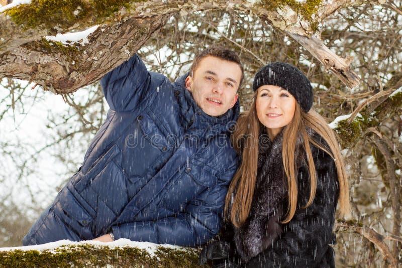 Pares novos felizes no wintergarden imagens de stock royalty free