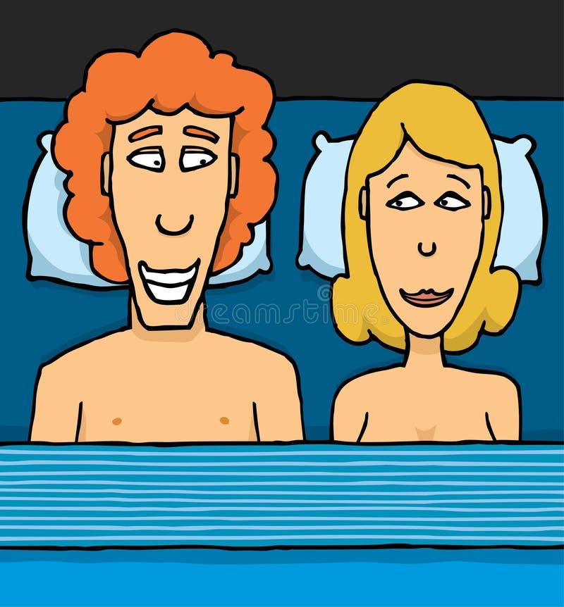 Pares novos na cama ilustração stock